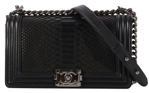 Chanel Ch.k1010.09 Snakeskin Ruthenium Leather Shoulder Bag
