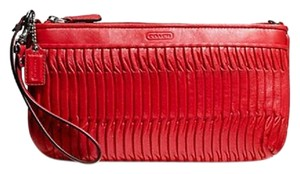 Coach Wristlet Leather Red Clutch