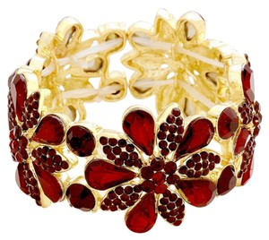 Other Red Siam Rhinestone Crystal Stretchable Cuff Bracelet