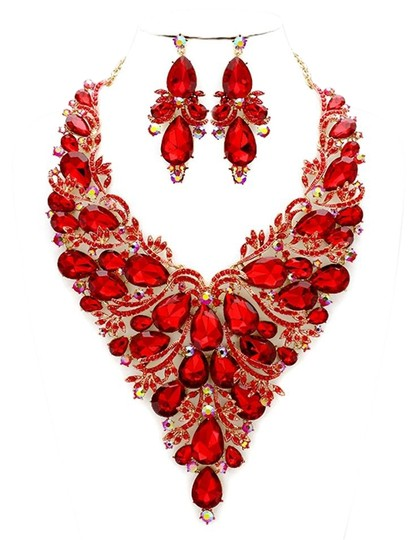 Preload https://img-static.tradesy.com/item/20202974/siam-red-gold-rhinestone-crystal-statement-and-earrings-necklace-0-1-540-540.jpg