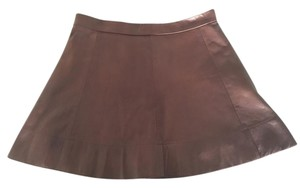 A.L.C. Alc Leather Made In Us Lambskin A-line Mini Skirt brown