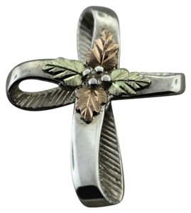 Ribbon Styled And Gold Leaf Cross- Sterling Silver