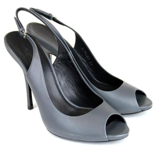 Gucci Leather Sling-back Heel 317033 Bluish Grey Pumps