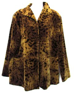 Ellen Tracy Cheetah Print Brown Multi Jacket