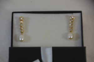 1.50ct. Genuine Diamonds Fresh Water Pearl 14k Yellow Gold Earring
