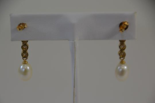 Yellow Gold 1.50ct. Genuine Diamonds Fresh Water Pearl 14k Earrings