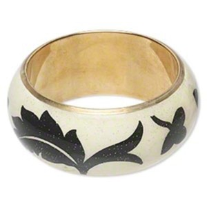 World Artisan White Lotus Flower Chunky Statement Bangle Bracelet from India