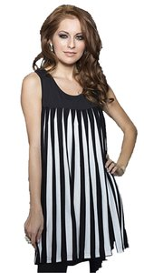 Adore short dress Black & White Pleated Empire Vertical Stripes on Tradesy
