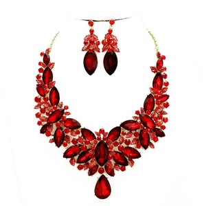 Red Siam Rhinestone Crystal Statement Necklace And Earrings