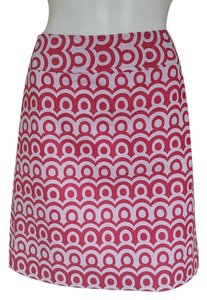 Ann Taylor Cotton Blend Skirt Pink/White