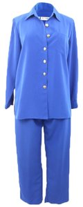 K.C. Studio K.C. Studio Woman Designer Cobalt Blue Petite Poly Pant and Top Set Size 12P
