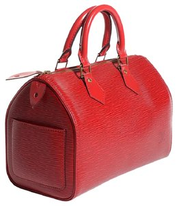 Louis Vuitton Lv Epi Lv Epi Mint Vuitton Speedy Vuitton Satchel in Red