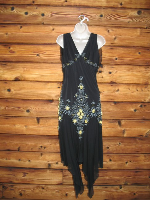 Other Vintage Silk Embellished Handkerchief Beaded Dress