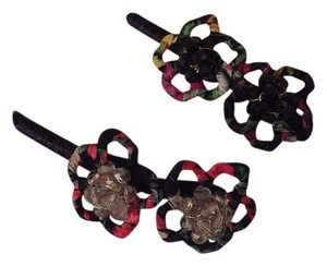 Anthropologie Floral Jeweled Clips