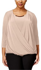 Calvin Klein Knit Wrap Embellished Longsleeve Top Blush