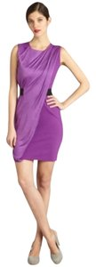 Halston Sheath Draped Orchid Mini Dress