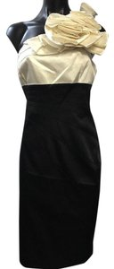 Adrianna Papell Large 14 Black White One Side Zip Dress