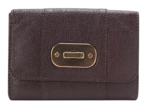 Burberry Brown Leather Bi Fold Snap Wallet