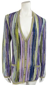 Missoni V-neck Mesh Knit Striped Multi-color Cardigan
