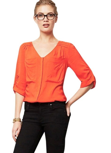 Anthropologie Two Front Pockets Pleated Upper Front Pleated Upper Back Super Silky Fabric Elbow Length Sleeves Top Red