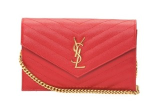 Saint Laurent Monogram Ysl Wallet Chain Cross Body Bag