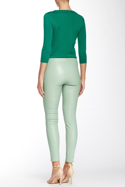 Catherine Malandrino Leather Lamb Leather Leather Skinny Pants Green