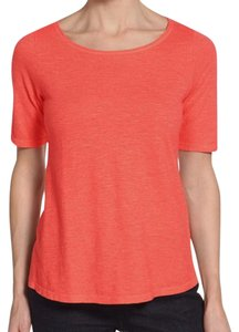 Eileen Fisher Swingy Vented High Low Hem A Line Silhouette Organic Cotton Breezy + Breathable T Shirt Flora