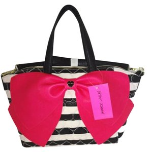 Betsey Johnson Black/ Bone Striped Fuchsia Bow Cross Body Top Zip Closure Satchel in black/bone stripe
