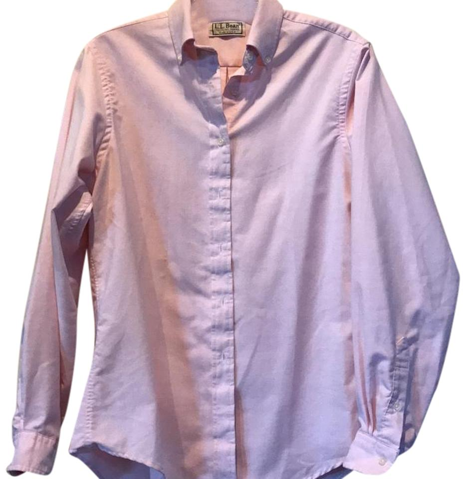 L l bean light pink button down top size 10 m tradesy for Pastel pink button down shirt