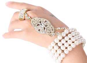 Other Cuff Bracelet; The Great Gatsby Pearl And Austrian Crystals Bracelet