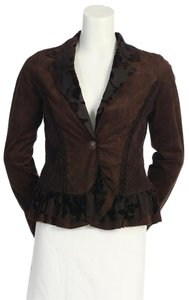 Anthropologie Chiffon Ruffles Faux Suede Hazel BROWN Blazer