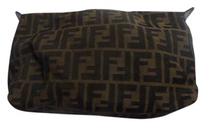 Fendi Mint Vintage Timeless Style large F logo print canvas and dark brown leather Clutch