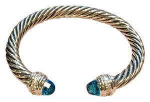 David Yurman Cable Classics Bracelet with Blue Topaz and Diamonds, 7mm