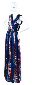Multi-Color Maxi Dress by MSGM Navy Silk Floral Print Draped Floor Length Maxi