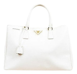 Prada Gold Saffiano Leather Rolled Top Handle Lux Tote in Cream