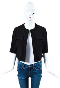 Chanel Gold Metallic Pocketed Short Sleeve Open Front Cropped Black Jacket