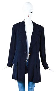 Chanel Chanel Boutique Navy Ghw Wool Cc Single Button Long Sleeve Blazer