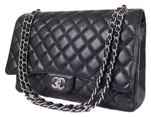 Chanel Classic Maxi 2.55 Jumbo Caviar Silver Shoulder Bag