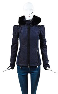 Fendi Dark Nylon Quilted Sheared Fur Hooded Ski Coat