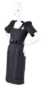 Chanel 07a Red White Wool Striped Bow Detail Ss Belted Sheath Dress