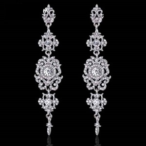 Silver Clear Crystal Chandelier Vintage Style Long Earrings