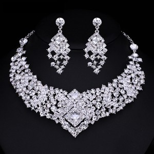 Crystal Bridal Necklace And Earrings Weddings Jewelry Sets