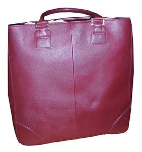 Tory Burch Leather Gold Hardware Tote in Burgundy