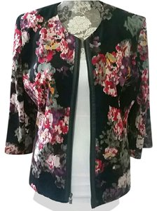 Notations Floral Faux Leather Print Structured Stretchy Black Blazer