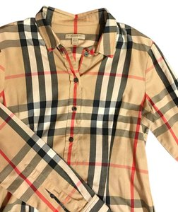 Burberry Brit Tan Plaid Button Down Shirt Classic check