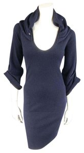 Brunello Cucinelli short dress Navy Sweater A-line V-neck Ruched on Tradesy