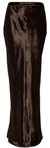 T by Alexander Wang Velvet Bohemian Edgy Sleek Maxi Skirt Brown