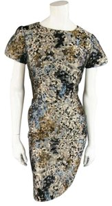 Carolina Herrera short dress Beige Abstract Brocade Textured Slit Sleeve Pockets on Tradesy