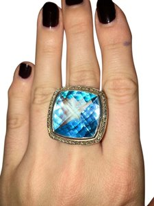 David Yurman Albion Ring with 20mm Blue Topaz and Diamonds