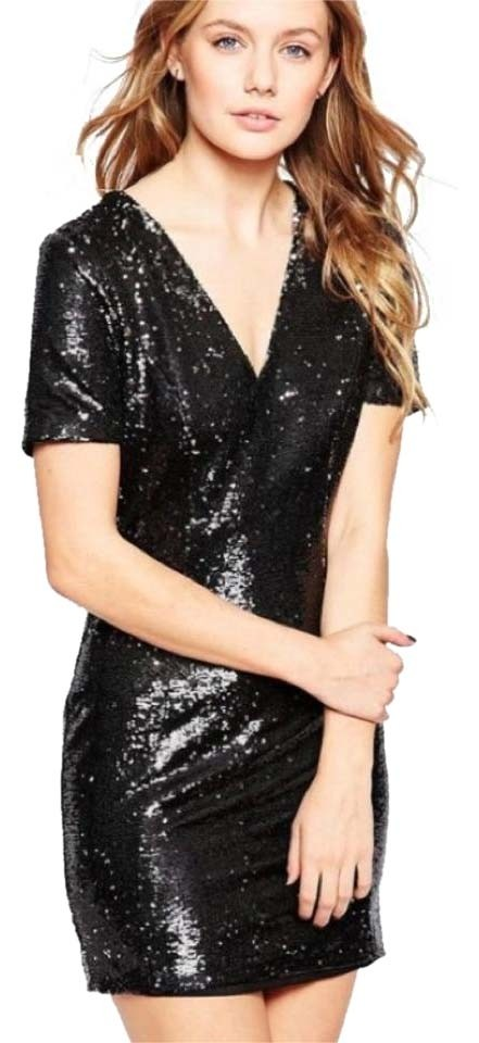 ASOS Black Holiday Sequin New Years Eve Mini Cocktail Dress Size 8 ...